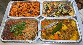 Chicken Pasta, Spinach & Feta Quiche, Mushroom Quiche, Lamb Curry