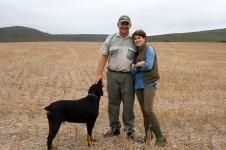 Theuns & Valerie Steenkamp of Landmeterskop with Jack, the Dobermann